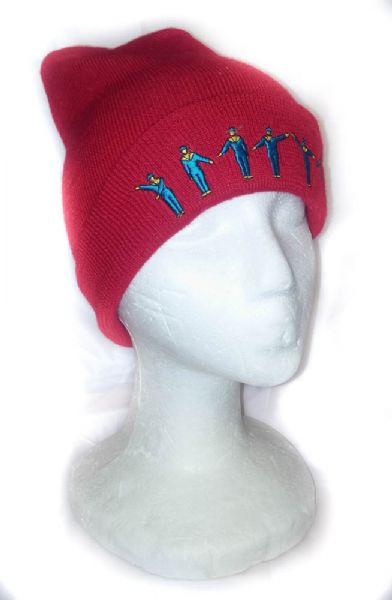 Igalykos stylish red embroidered ski hat.